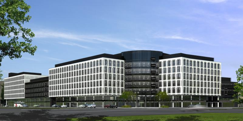 Visualisation of the front view of the office building