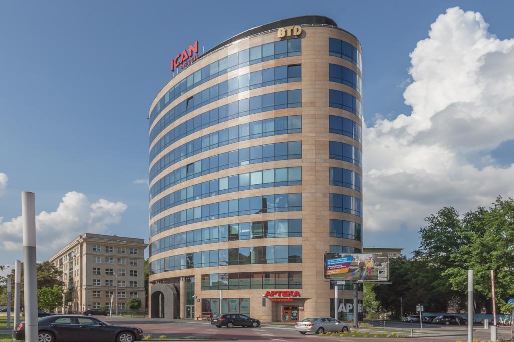 The office building's facade