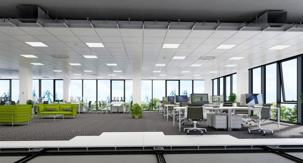 Visualization of exemplary arrangement of the open space office