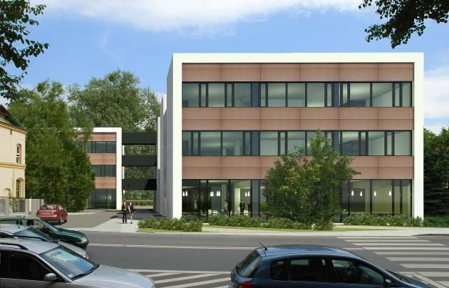 View of the front of the office building - visualisation