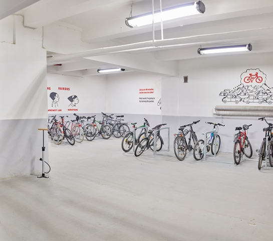 Parking stalls for bicycles in the building