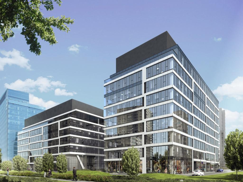 Widok na budynek biurowy - wizualizacja
