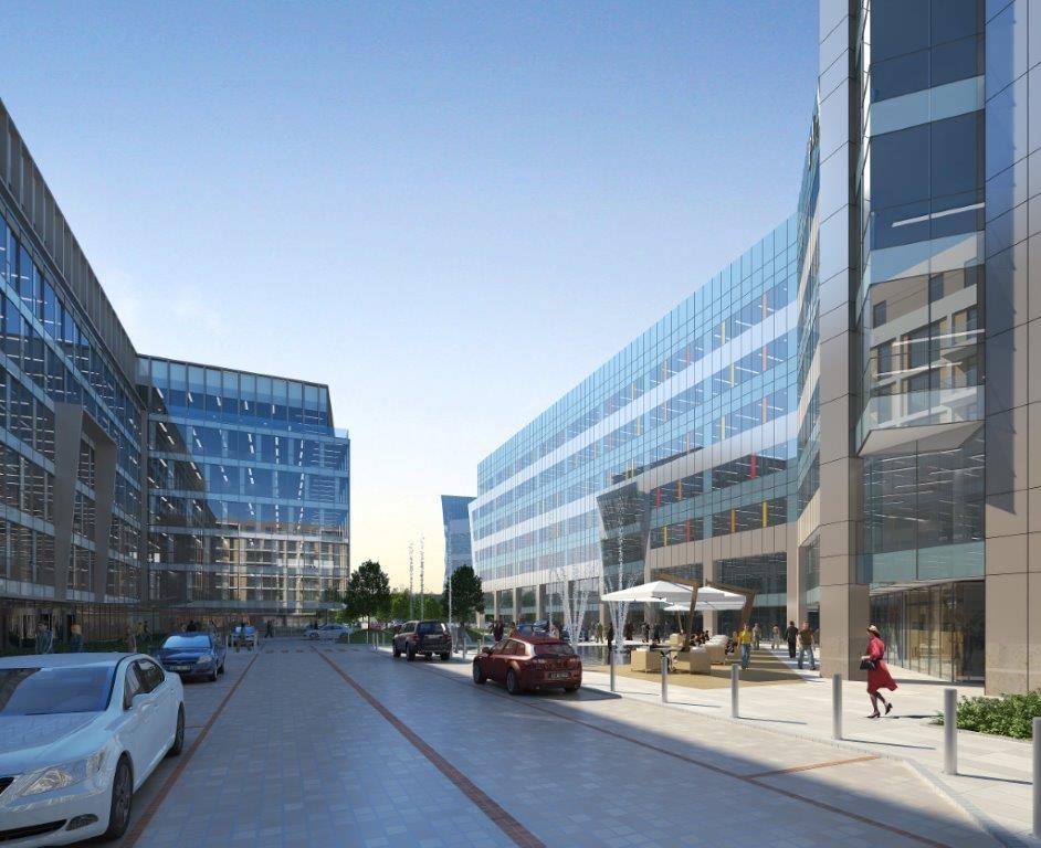 Widok przestrzeni między budynkami kompleksu