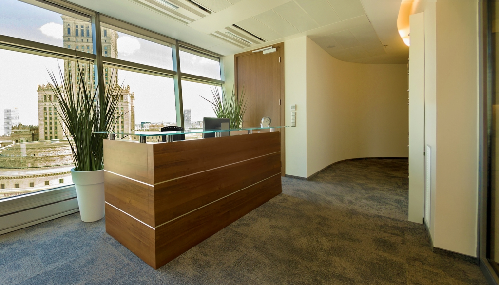 The reception desk on the IX floor