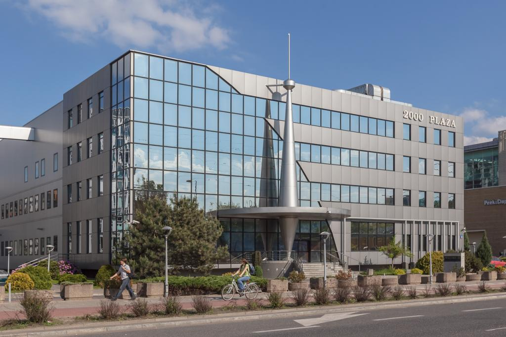 Main view of the building with office space for rent