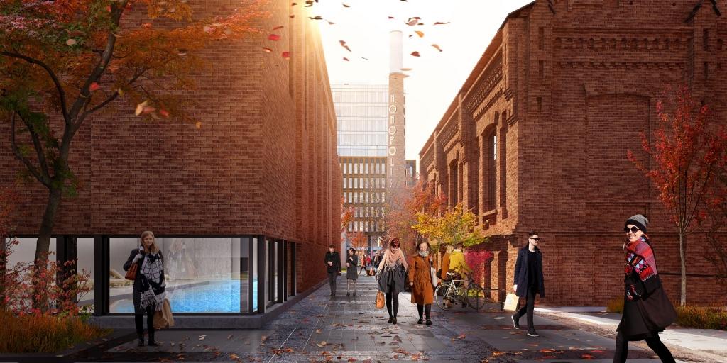Wizualizacja przestrzeni pomiędzy budynkami kompleksu