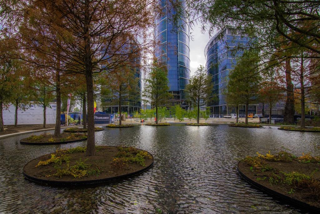 Widok na biurowiec z parkiem