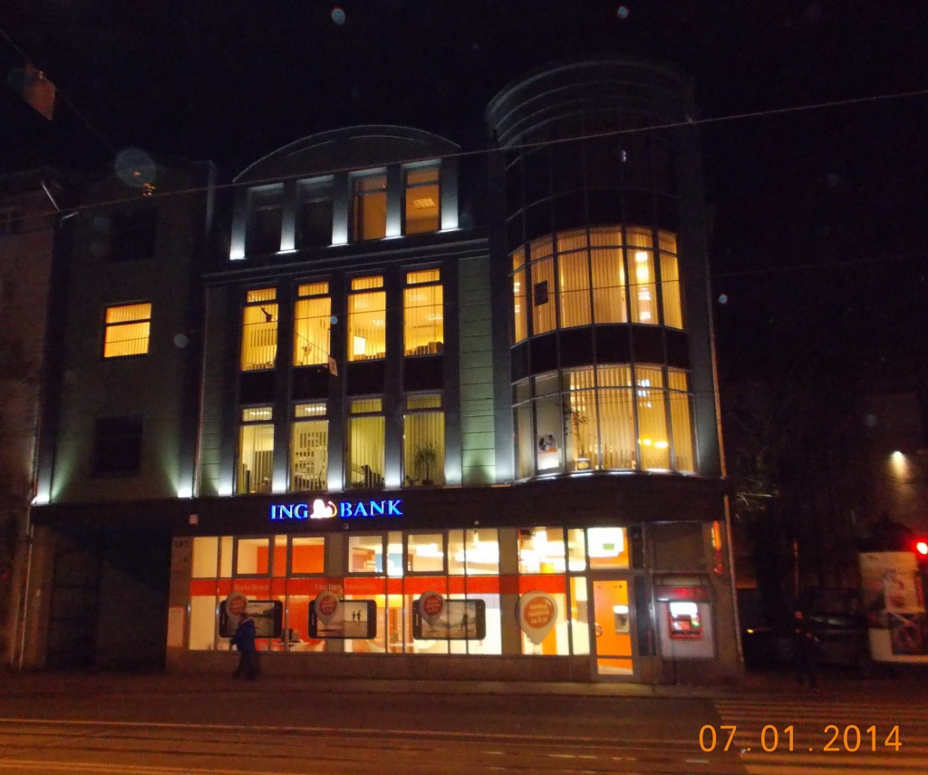 View of the building by night