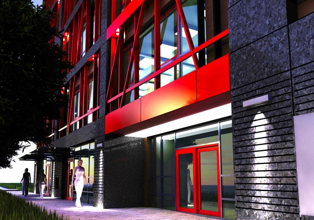 Wizualizacja budynku biurowego Portico Office Building