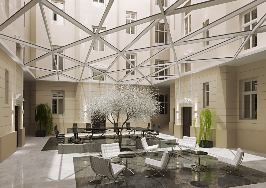 Elegant patio inside the office building