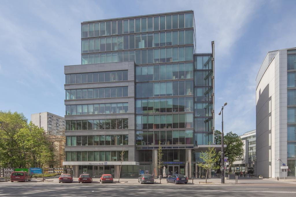 Elevation of the office building with space for rent