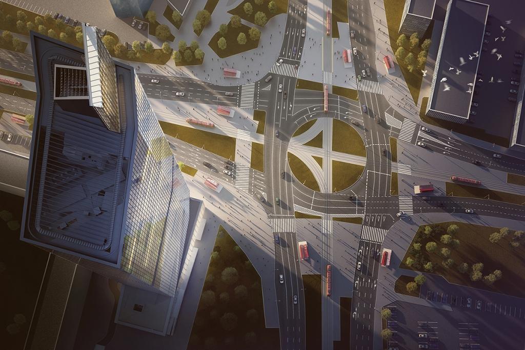 Widok na budynek z lotu ptaka - wizualizacja