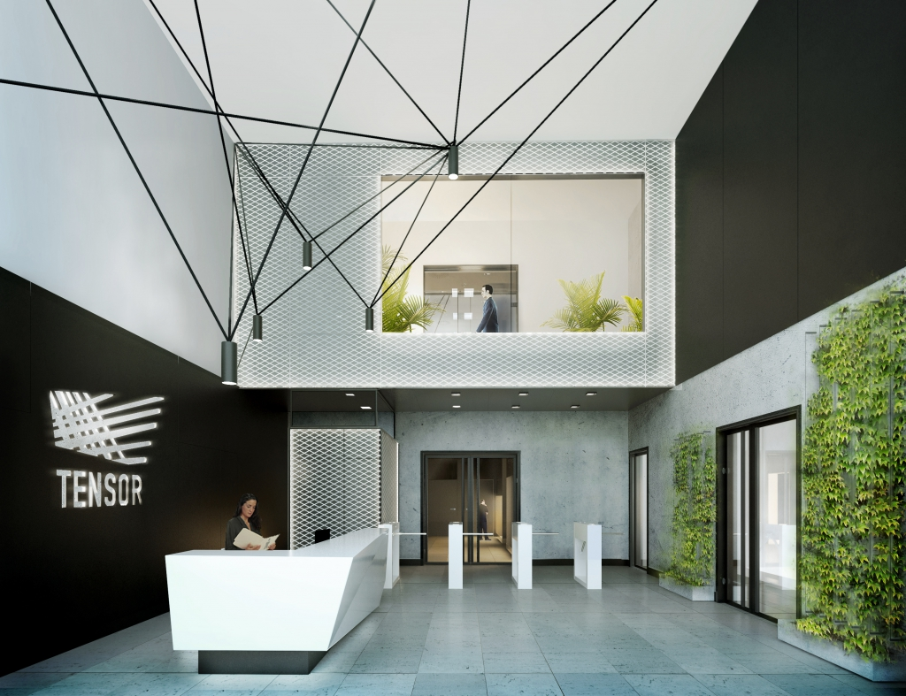 Visualization of main lobby in the office building X