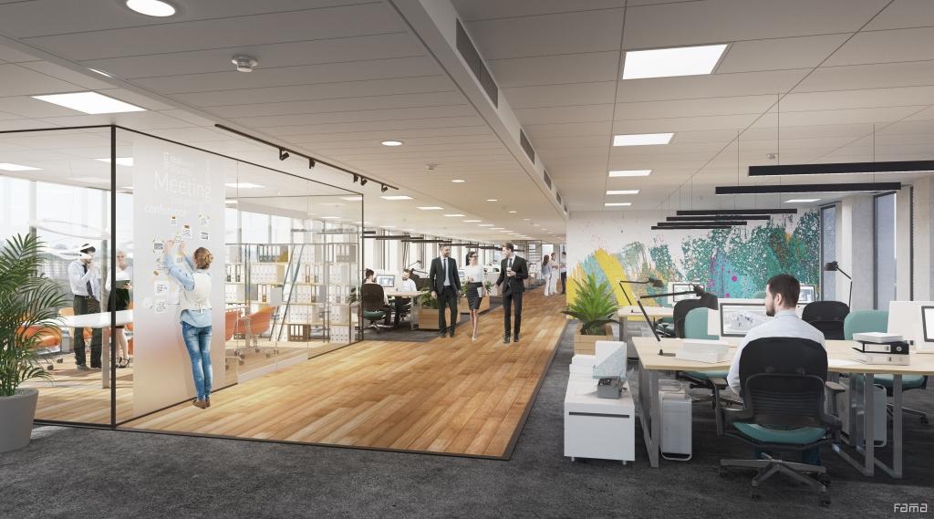 Wizualizacja przestrzeni biurowej typu open space