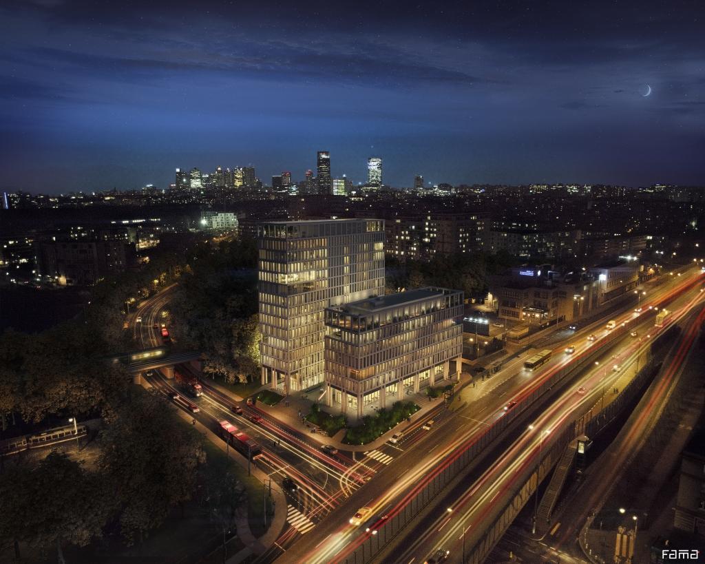 Budynek nocą - wizualizacja