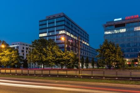 View of the office building by night